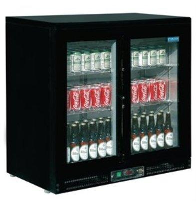 XXLselect Polar schwarze Display Kühlvitrine 2-türig mit Schiebetüren