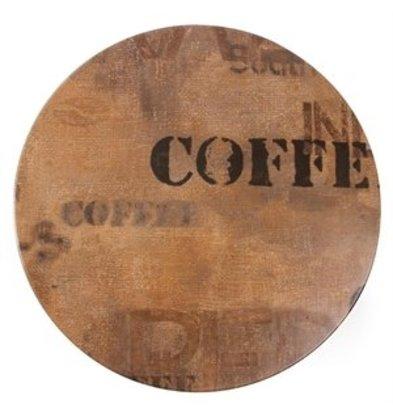 XXLselect Werzalit Tischplatte rund Coffee Sack Effekt 60cm