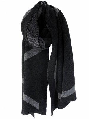 SjaalMania Blanketsjaal COSY Black Melee/Mid Grey Melee