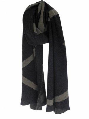 SjaalMania Blanketsjaal COSY Black Melee/Olive Melee
