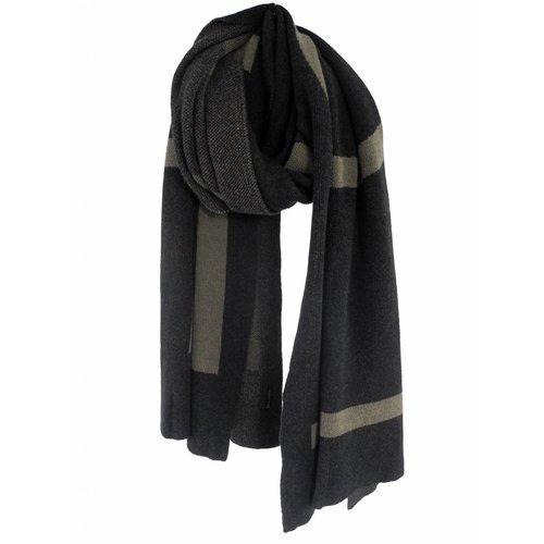 SjaalMania Blanketsjaal LOVE Black Melee/Olive Melee