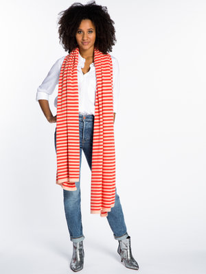 Sjaal SjaalMania Cosy Chic Stripes Coral - Poppy