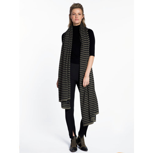 Sjaal SjaalMania Cosy Chic Stripes Olive - Black