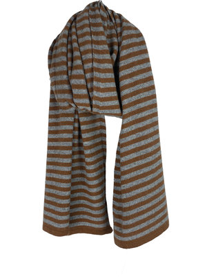 Sjaal Cosy Short Stripes Toffee - Mid Grey Melee