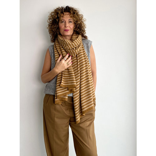 Travel Wrap Cosy Chic Stripes Tiger's Eye - Camel