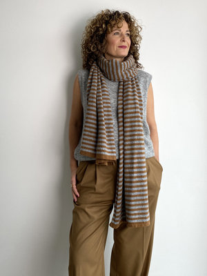 Sjaal Cosy Chic Stripes Toffee - Mid Grey Melee
