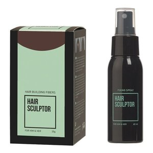 Hair Sculptor Hair Building Fibres Donkerbruin + Hair Sculptor Fixing Spray