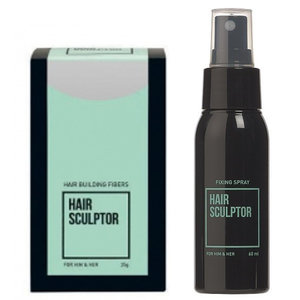 Hair Sculptor Hair Building Fibres Grijs + Hair Sculptor Fixing Spray