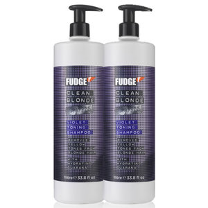 Fudge Clean Blonde Violet Toning Shampoo 1000ml Duopack
