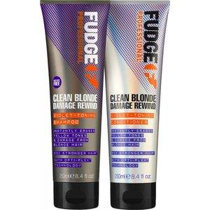 Fudge Clean Blonde Damage Rewind Toning-Violet duo shampoo & conditioner 250ml