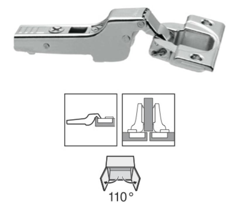 BLUM 110º scharnier schroeftop zonder veer half voorslaand/half opliggend