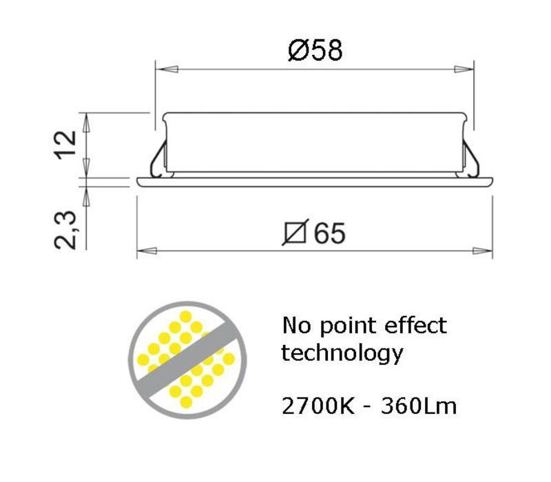 QUADRUM Plus inbouwspot Titanium Look Ø 58mm LOS