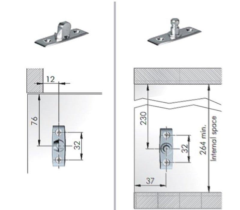 Klepbeslag K12 voor klep naar beneden, te gebruiken voor TIP-ON kleppen