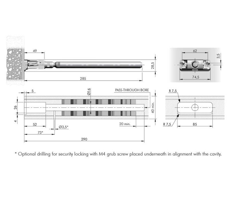 Staafplankdrager Triade XXL voor plank max 400mm diep