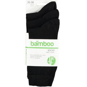 Bamboo Bamboe sok 3 pack zwart 43-46