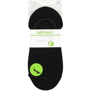 Bamboo Bamboe no show sok 3 pack zwart 39-42