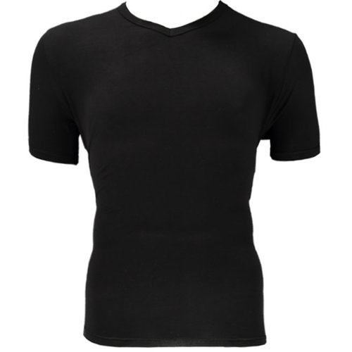 Bamboo Bamboe T-shirt V hals 2pack zwart maat M