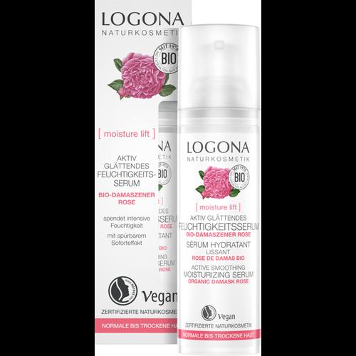 Logona Moisture lift active smoothing moisturizing serum organic damask rose 30ml