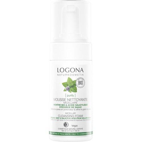 Logona Purify micellar cleansing foam organic mint & salicylic acid from willow bark 100ml
