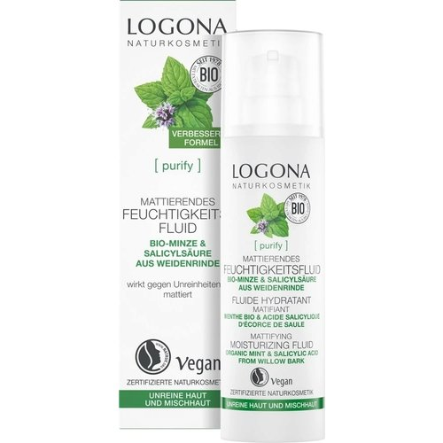 Logona Purify mattifying moisturizing fluid organic mint & salicylic acid from willow bark 30ml