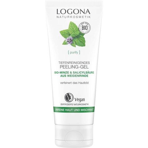 Logona Purify deep cleansing exfoliation gel organic mint  & salicylic acid from willow bark 100ml