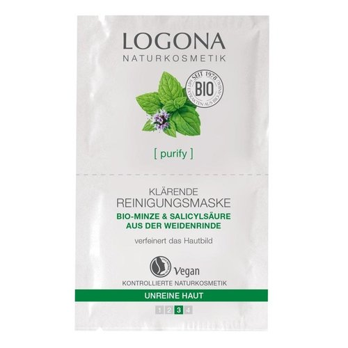 Logona Purify clarifying cleansing mask organic mint & salicylic acid from willow bark 15ml