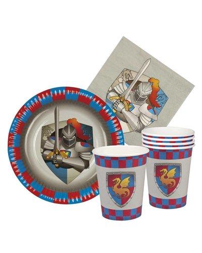 Magicoo Partyset für Ritterparty inkl.  Becher, Teller & Servietten