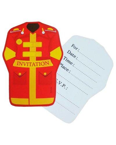 Magicoo Einladungskarten mit Feuerwehr-Motiv - 6 Stück
