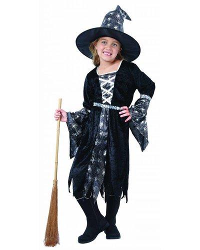 Magicoo Hexenkleid für Kinder schwarz-silber  inkl. Hut