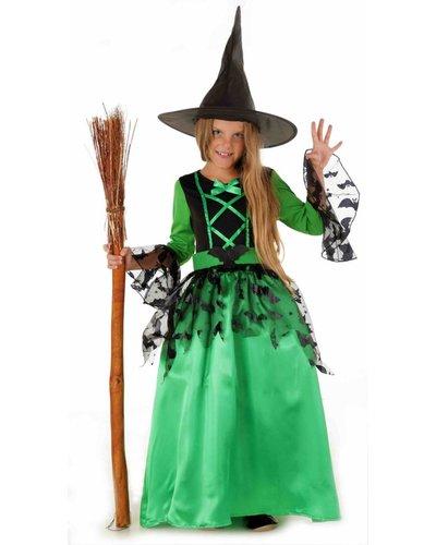 Magicoo Grünes Hexenkostüm für Mädchen inkl. Hut - Fledermaushexe