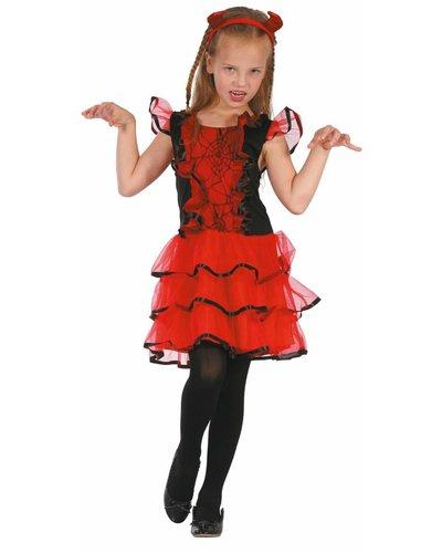 Magicoo Teufel Kostüm für Mädchen inkl. Kleid und Haarreifen