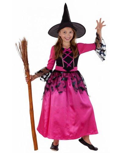 Magicoo Fledermaushexe  - pinkes Kostüm Hexe für Mädchen mit Hut