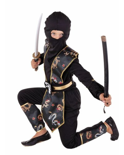 Magicoo Ninja Kinderkostüm schwarz-gold mit Drachen-Muster