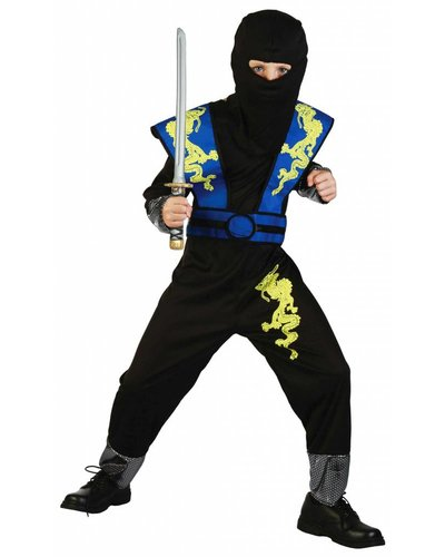 Magicoo Dragon Ninja Kostüm für Kind blau - Ninja Kostüm Jungen