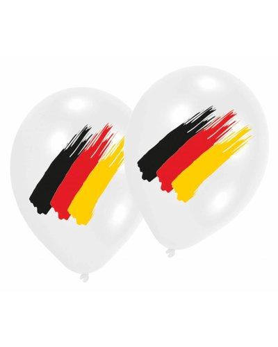 Weiße Luftballons mit deutscher Flagge
