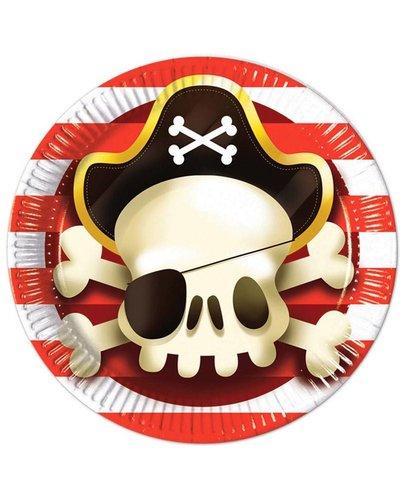 "Magicoo 8 Teller ""Piraten"" rot-gold-schwarz"