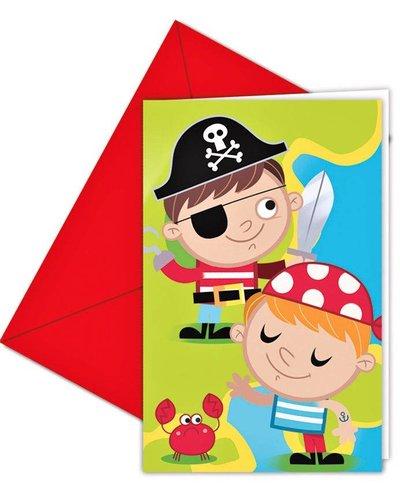 """6 Einladungskarten mit Umschlag """"Tapfere Piraten"""""""