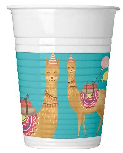 Magicoo 8 Partybecher mit Lama-Motiv - 200 ml
