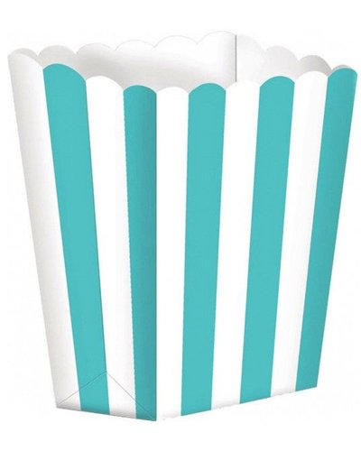 Magicoo 5 Pappschachteln - weiß-türkis gestreift