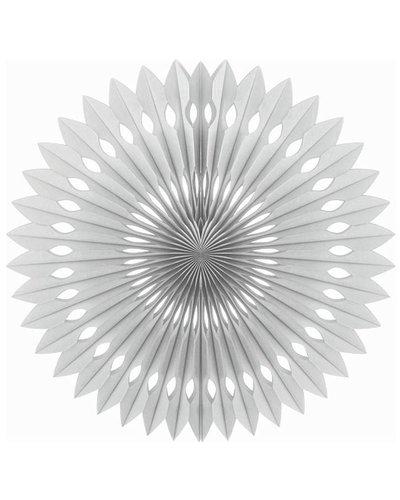 Papierfächer silber - 40 cm