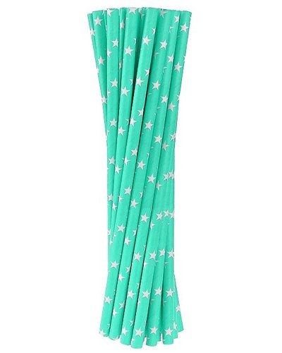 Magicoo Papierstrohhalme blau mit Sternen - 24 Stück