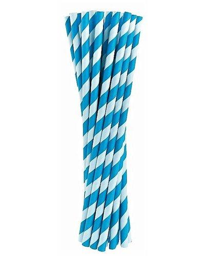 Papierstrohhalme dunkelblau gestreift - 24 Stück