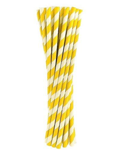 Papierstrohhalme gelb gestreift - 24 Stück