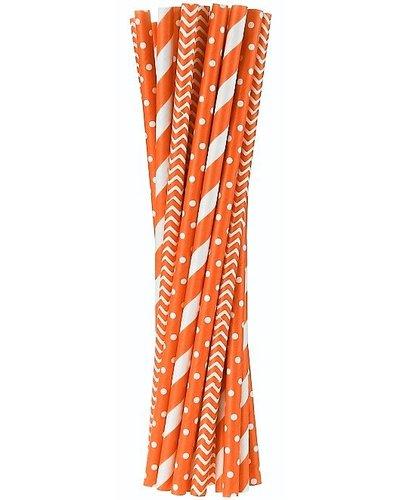 Magicoo 24 Papierstrohhalme orange-weiß - Mustermix