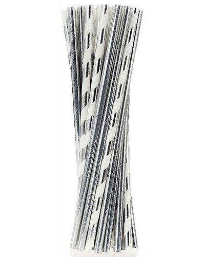 Magicoo 24 Papierstrohhalme silber-weiß - Mustermix