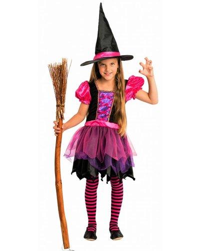 Magicoo Fee Hexenkostüm mit Hut pink-schwarz