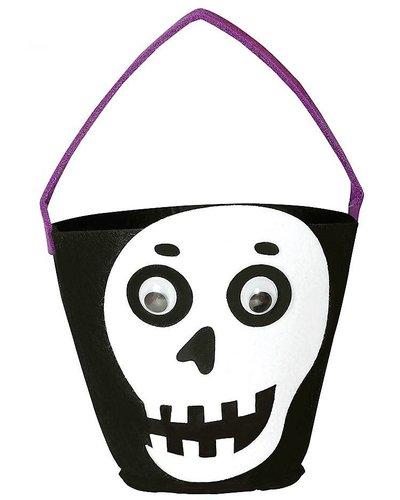 Magicoo Filzkorb für Süßigkeiten mit Skelett-Kopf