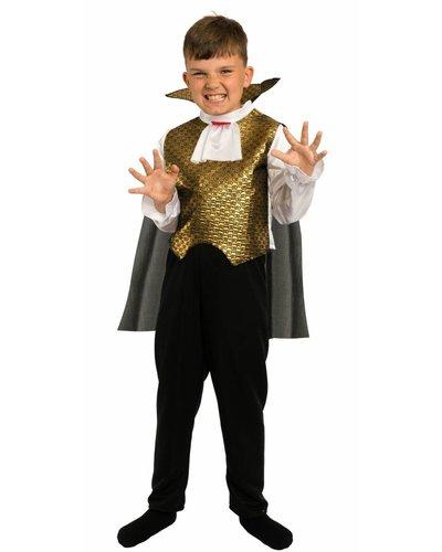 Magicoo Deluxe Vampir Dracula Kostüm für Kinder schwarz-weiß-gold
