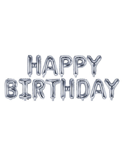 "Magicoo Folienballon ""Happy Birthday"" 340x35cm silber"