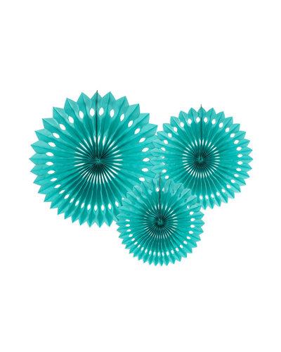 Magicoo 3 Papierfächer in 3 Größen türkisblau - 20-30cm
